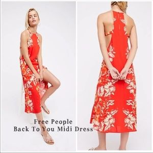 "Free People ""Back to You"" Floral Midi Dress (XS)"